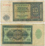 DDR 1948, 10 Mark, Deutsche Notenbank, KN 7stellig, Geldschein, Banknote - [ 6] 1949-1990 : GDR - German Dem. Rep.