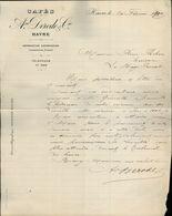 76 - LE HAVRE - Lettre à En-tête & Facturz - Cafés Derode & Cie - 1890 - 1899 - France