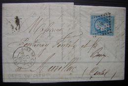 Gare De Caen 1865 Ambulant Sur N°22, Lettre Incomplète De Bellamy, Voir Photos - Poste Ferroviaire