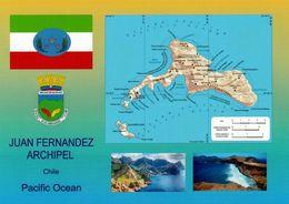 1 AK Juan Fernandez Archipel * Flagge, Wappen, Landkarte Und 2 Ansichten Vom Juan Fernandez Archipel - Chile