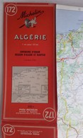 Carte Géographique MICHELIN - N° 172 ALGERIE - 1956 Environ D'Oran Région D'Alger Et Kabylie - Cartes Routières