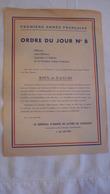 1ère ARMEE-ORDRE DU JOUR - Documents Historiques
