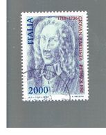 ITALIA REPUBBLICA  - SASS. 1754     -      1986  G.B. PERGOLESI  -      USATO - 6. 1946-.. República