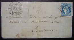 St LAURENT DE LA SALANQUE 1871 Pyrénées Orientales Lettre Pour Toulouse - Marcophilie (Lettres)