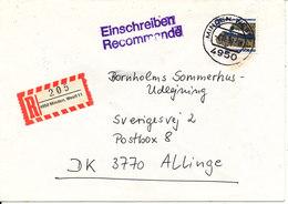 Germany Registered Cover Sent To Denmark Minden 4-11-1991 Single Franked - [7] Federal Republic