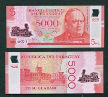 PARAGUAY  -  2016 5000 Guaranies  UNC Banknote - Paraguay