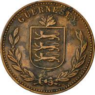 Monnaie, Guernsey, 8 Doubles, 1914, Heaton, TTB+, Bronze, KM 14 - Guernsey