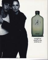 """CARTE  PUBLICITAIRE  """"  CALVIN  KLEIN """" DOUBLE  FACE """"  TBE,,,,,17 X14 Cm - Perfume & Beauty"""