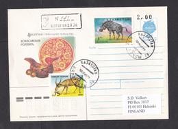 Kazakhstan: Cover To Finland, 1995, 2 Stamps, Entelodon, Prehistoric Animal, Overprint USSR Stationery (traces Of Use) - Kazachstan