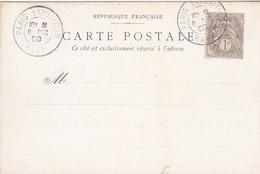 FRANCE Type BLANC  Oblieration PARIS EXPOSION RAPP  Du 8/12 /1900 4 Jours Après Le  Premier Jour D émission - Marcophily (detached Stamps)