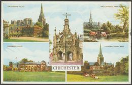 Multiview, Chichester, Sussex, 1961 - Salmon Postcard - Chichester
