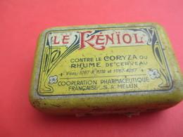 Boite Métallique Ancienne/Le Renïol/Contre Le Coryza Ou Rhume De Cerveau/Coopération Pharm/MELUN/Vers 1930-1950 BFPP159 - Boîtes