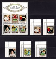 Penrhyn 1982 Birthday 21st Of Princess Of Wales Set + Minisheet MNH - Penrhyn