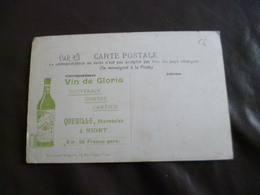 Sur CPA Pédraza L'église Pub Niort Pharmacie Queille Vin De Gloria BE - Publicité