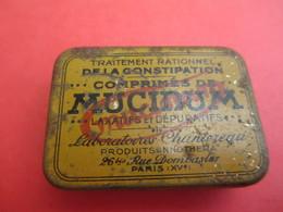 Boite Métallique Ancienne/Mucinum/Traitement Rationnel De La Constipation/Labos Chantereau /PARIS/Vers 1930-1950 BFPP158 - Boîtes