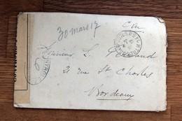 """Enveloppe & Ettre De Mars 1917 Ouverte Par Censure """" Contrôle Postal """" écrite Parle Capitaine Ferrand - Témoignage Guerr - Manuscripts"""