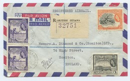 British Guiana Postal History 1955 Postmarked Registered Airmail Br Guiana And Honiton By Air Mail. - British Guiana (...-1966)