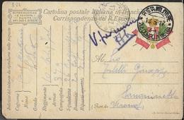 FRANCHIGIA MILITARE Ia GUERRA - CARTOLINA (INT 8/22) DA 20° CORPO D'ARMATA (ENEGO) (p.2) 14.03.1917 PER SANGUINETTO (VR) - Franquicia