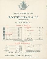 16 - Cognac - Maison Fondée En 1849 - Tarifs Alcool En Foudres  Boutelleau & C°. - Barbezieux-Cognac. - - Alcohols