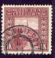 BOSNIA & HERZEGOVINA 1906 1 Kr. Perforated 12½:10½:9¼:9¼ Used,  Michel 42G;  SG 19MD Cat. £60 - Bosnia And Herzegovina