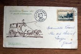 Enveloppe 1er Jour : Valenciennes Journée Du Timbre 1952 - Attelage Postes Poste - Vieux Papiers