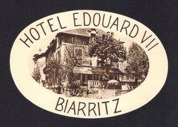 Etiquette HOTEL EDOUARD VII à Biarritz.   Luggage Label. - Hotel Labels