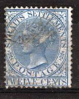 Straits Settlements Queen Victorian 1867 Twelve Cents Blue  Used  Stamp. - Straits Settlements