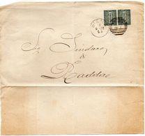 ##(ANT182)- 18-9-1886- Siena - Coppia Cent.1 Su Porzione Di Piego No Testo Per Radda,  Annullo Numerale A Barre (27) - 1878-00 Umberto I