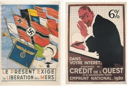 LOT DE 4 REPRO AFFICHES WWII UNION FRANCAISE BANQUES CROIX GAMMEE  ACHAT IMMEDIAT PRIX FIXE - Weltkrieg 1939-45