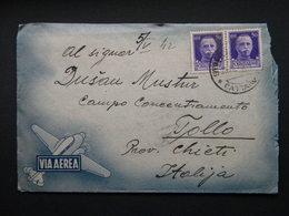 WW2 - ITALY OCCUPATION OF MONTENEGRO 1942  CATTARO TO TOLLO  CHIETI  VIA AEREA 2X 50 CENT CENSURA - 9. Besetzung 2. WK (Italien)