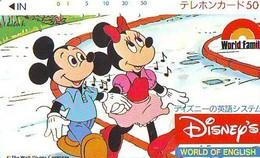 Télécarte Japon / 110-52999 - DISNEY - MICKEY MINNIE / WORLD OF ENGLISH   (5973a) JAPAN PHONECARD * TK - Disney