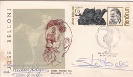 FDC. JOSE BELLONI. SIGNEE DIRECTOR IMPRENTA NACIONAL RUBEN OROZCO-URUGUAY-TBE-BLEUP - Beroemde Personen
