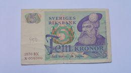 SVEZIA 5 KRONOR 1976 - Suède