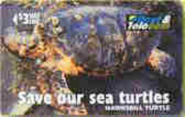 FIJI : 083A $3  Hawsbill Turtle (zero Slashed) USED - Fiji