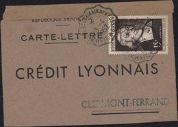 YT 882 Perforé CL Inversé Carte Lettre Crédit Lyonnais Seul Sur Lettre CAD Ambulant Clermont F à St Germain Des Fossés - France