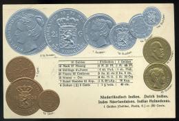 NETHERLANDS INDIE    Set Of Coins,  Vintage Embossed, Litho Postcard - Other