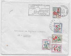 TAXE FLEURS - 1967 - ENVELOPPE De CLERMOND-FERRAND (PUY DE DOME) => LEZOUX - COQ DECARIS - Marcofilie (Brieven)