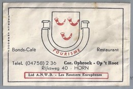 Suikerzakje.- HORN. BONDS - CAFÉ RESTAURANT - TOURISME -. Cor. Opbroek - Op 't Root. RIJKSWEG 40. A.N.W.B. Les Routiers - Sugars