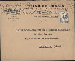 Seul Sur Lettre YT 640 Coq Q'Alger 2 F Gris Bleu Enveloppe Usine De Denain Gaz électricité - Marcophilie (Lettres)