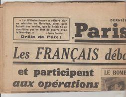 JOURNAL QUOTIDIEN PARIS-SOIR 4 PAGES RECTO VERSO N°6060 DIMANCHE 21 AVRIL 1940 2° GUERRE MONDIALE - Other