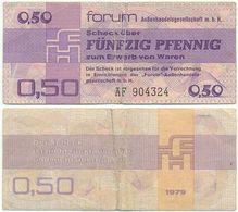 DDR 1979, 0,50 Pfennig, Forumscheck, Aussenhandelsgesellschaft, Geldschein, Banknote - [14] Forum-Aussenhandelsgesellschaft MBH