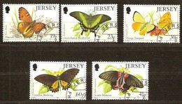 Jersey 1995 Yvertn°  706-710  (°) Oblitéré Used Cote 9,00 Euro Fauna Papillons Vlinders - Jersey