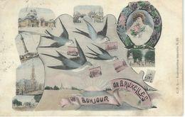 Un Bonjour De BRUXELLES - Cachet De La Poste 1910 - Panoramische Zichten, Meerdere Zichten