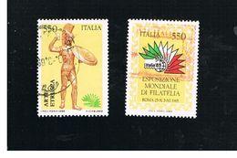 ITALIA REPUBBLICA  - SASS. 1696.1697  -      1984  ITALIA 85: ARTE ETRUSCA     -      USATO - 6. 1946-.. República