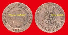 France Colonies -Guyane- 9 De 1846A TB (ct2) De 10 Cent (Louis Philippe I) 22mm Tranche Lisse, 2,5gr Billon 158°/oo Grav - Colonies