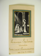 1934  IMMAGINE APPLICATA SU CARTA PECORA  PREMIERE COMMUNION  RICORDO PRIMA COMUNIONE   IMAGE PIEUSE   SANTINO HOLYCARD - Devotion Images