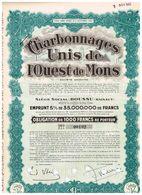 Obligation Ancienne - Sté Anonyme Des Charbonnages Unis De L'Ouest De Mons - - Mines