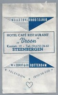 Suikerwikkel - STEENBERGEN. Hotel Café Restaurant - VROON - Kaaistraat 12   Zucker. Sugar. Sucre. Suiker. - Sugars