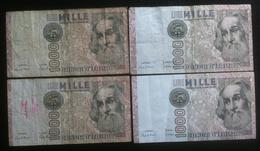 Lotto 4 Banconote - Italia - 1000 Lire Marco Polo - Billetes