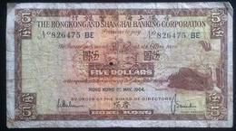 Banconota - Hongkongand Shanghai Five Dollars - 5 Dollari - 1st May 1964 - Banknotes